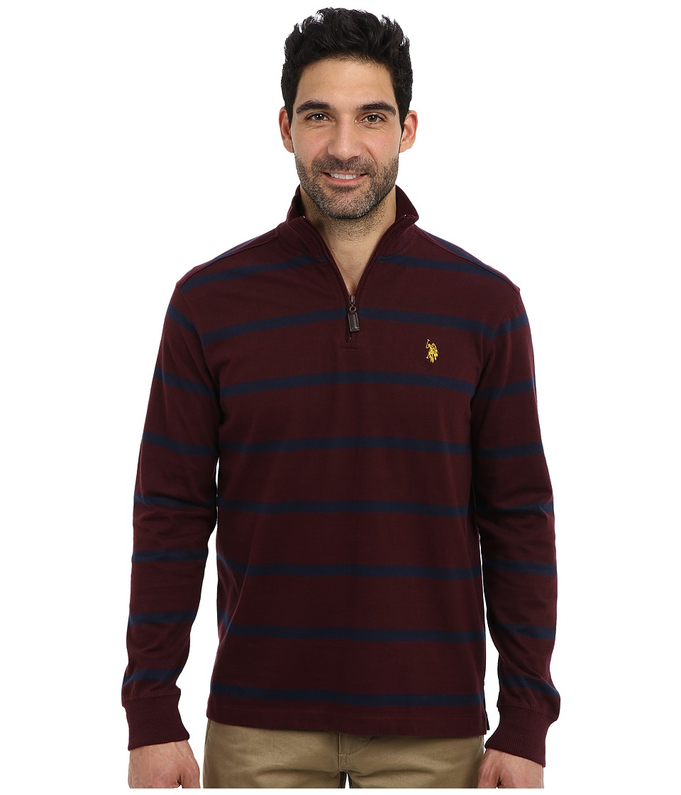 U.S. POLO ASSN. - Long Sleeve Striped Sueded Jersey 1/4 Zip Mock Neck Pullover (Burgundy) Men