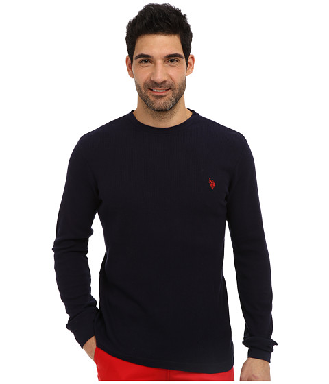 U.S. POLO ASSN. - Long Sleeve Crew Neck Solid Thermal Shirt (Classic Navy) Men