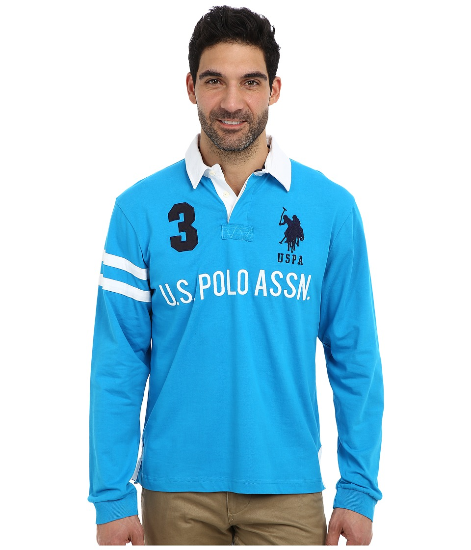 U.S. POLO ASSN. - Long Sleeve Heavy Weight Cotton Jersey Rugby Polo (Teal Blue) Men
