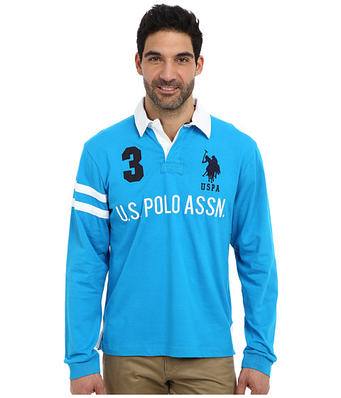 U.S. POLO ASSN. - Long Sleeve Heavy Weight Cotton Jersey Rugby Polo (Teal Blue) Men's Long Sleeve Pullover