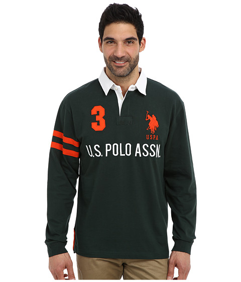 U.S. POLO ASSN. - Long Sleeve Heavy Weight Cotton Jersey Rugby Polo (Park Green) Men's Long Sleeve Pullover