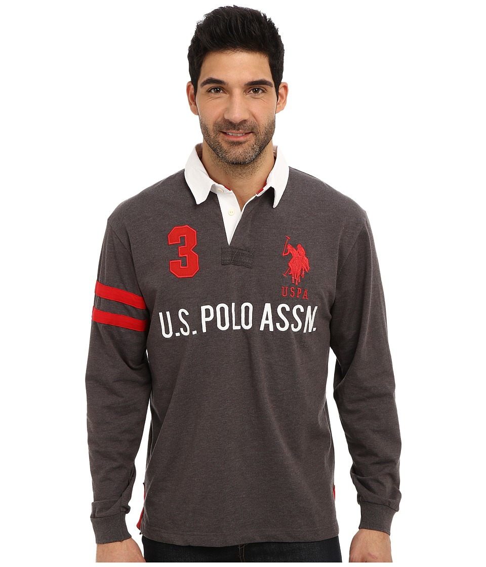U.S. POLO ASSN. - Long Sleeve Heavy Weight Cotton Jersey Rugby Polo (Heather Dark Gray) Men