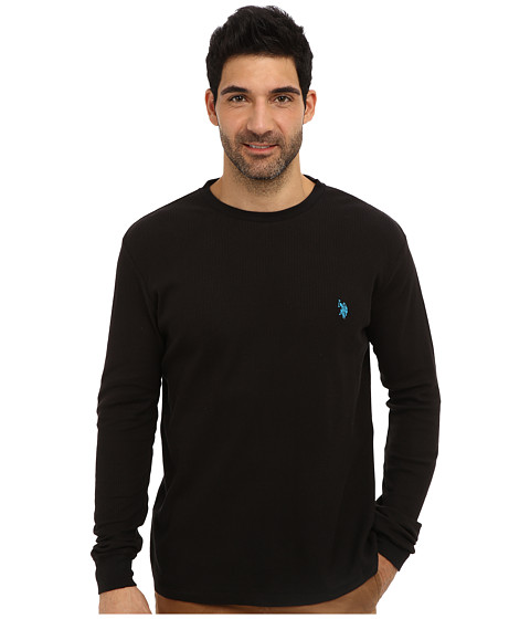 U.S. POLO ASSN. - Long Sleeve Crew Neck Solid Thermal Shirt (Black) Men's Long Sleeve Pullover