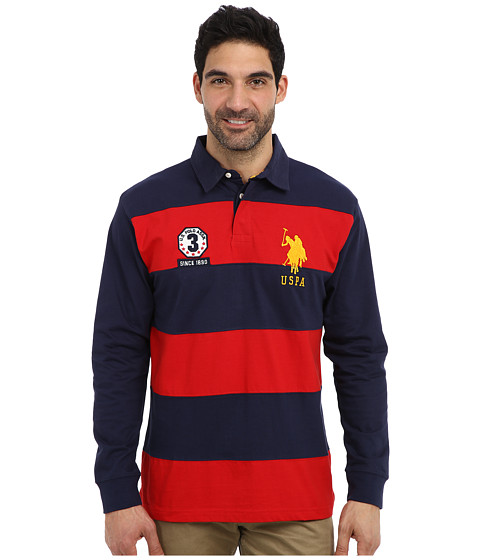 U.S. POLO ASSN. - Long Sleeve Stripe and Solid Heavy Weight Jersey Rugby Shirt (Engine Red) Men