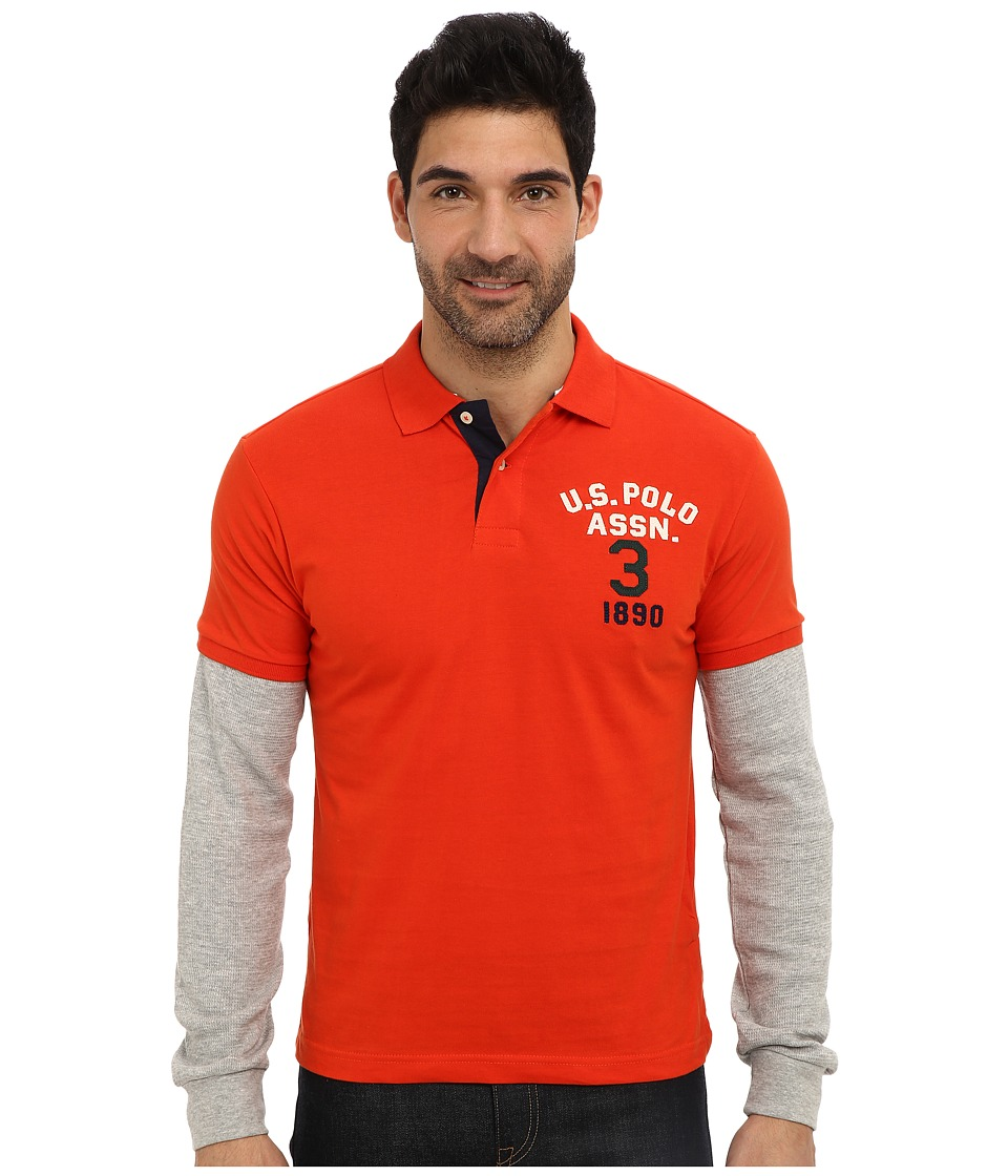 U.S. POLO ASSN. - Long Sleeve Slim Fit Polo and Thermal Hang Down (Harvest Orange) Men's Long Sleeve Pullover