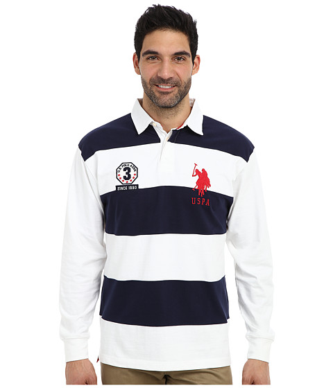 U.S. POLO ASSN. - Long Sleeve Stripe and Solid Heavy Weight Jersey Rugby Shirt (White) Men