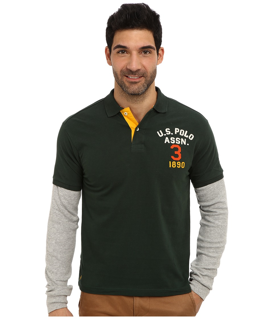 U.S. POLO ASSN. - Long Sleeve Slim Fit Polo and Thermal Hang Down (Park Green) Men's Long Sleeve Pullover