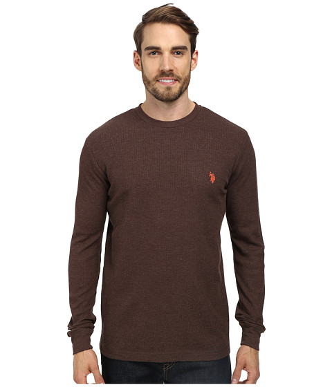 U.S. POLO ASSN. - Long Sleeve Crew Neck Solid Thermal Shirt (Brown Heather) Men's Long Sleeve Pullover
