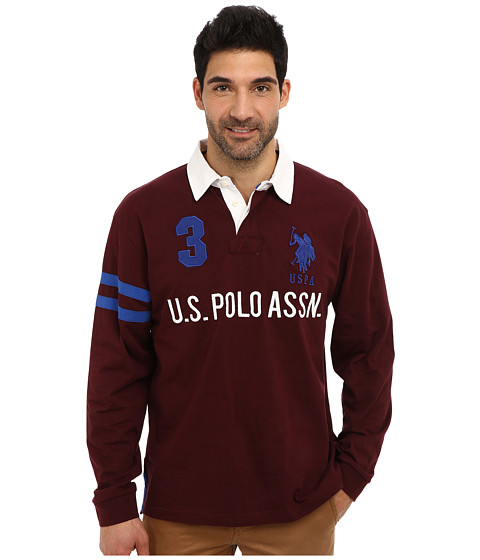 U.S. POLO ASSN. - Long Sleeve Heavy Weight Cotton Jersey Rugby Polo (Burgundy) Men