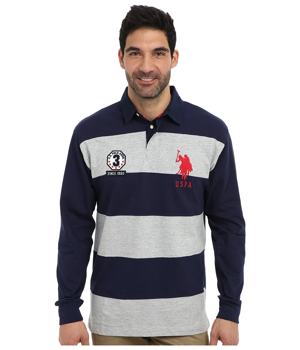U.S. POLO ASSN. - Long Sleeve Stripe and Solid Heavy Weight Jersey Rugby Shirt (Heather Gray) Men's Long Sleeve Pullover