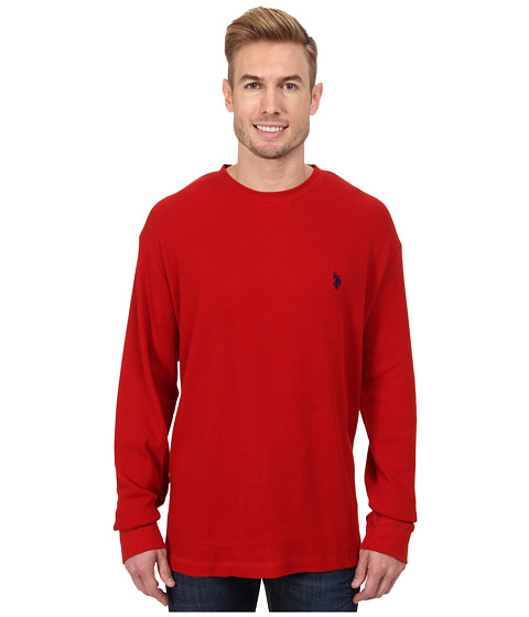 U.S. POLO ASSN. - Long Sleeve Crew Neck Solid Thermal Shirt (Barn Red) Men's Long Sleeve Pullover