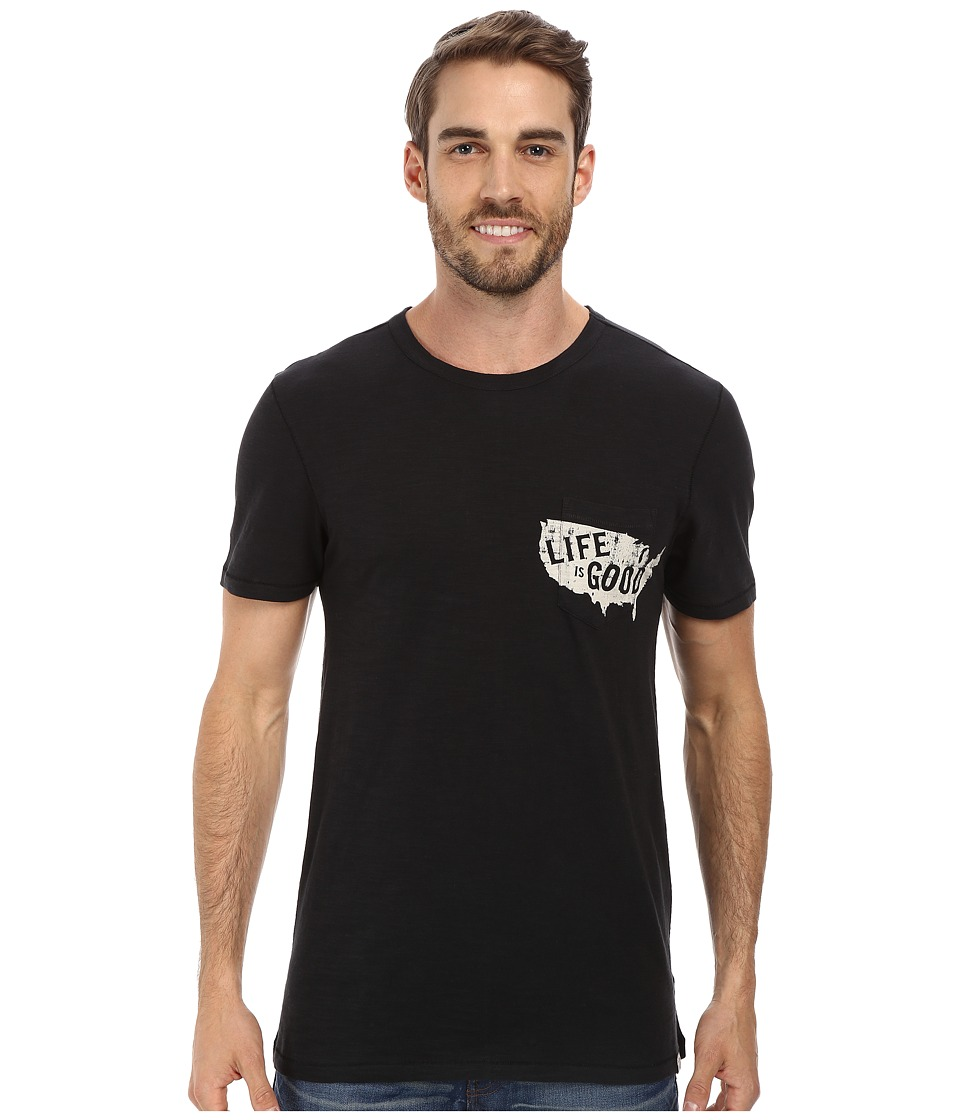 Life is good - Slub Pocket Tee (Night Black) Men's T Shirt