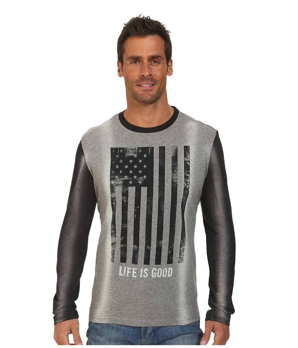 Life is good - Warm-Up Jersey Tee (Heather Grey/Night Black) Men's Long Sleeve Pullover