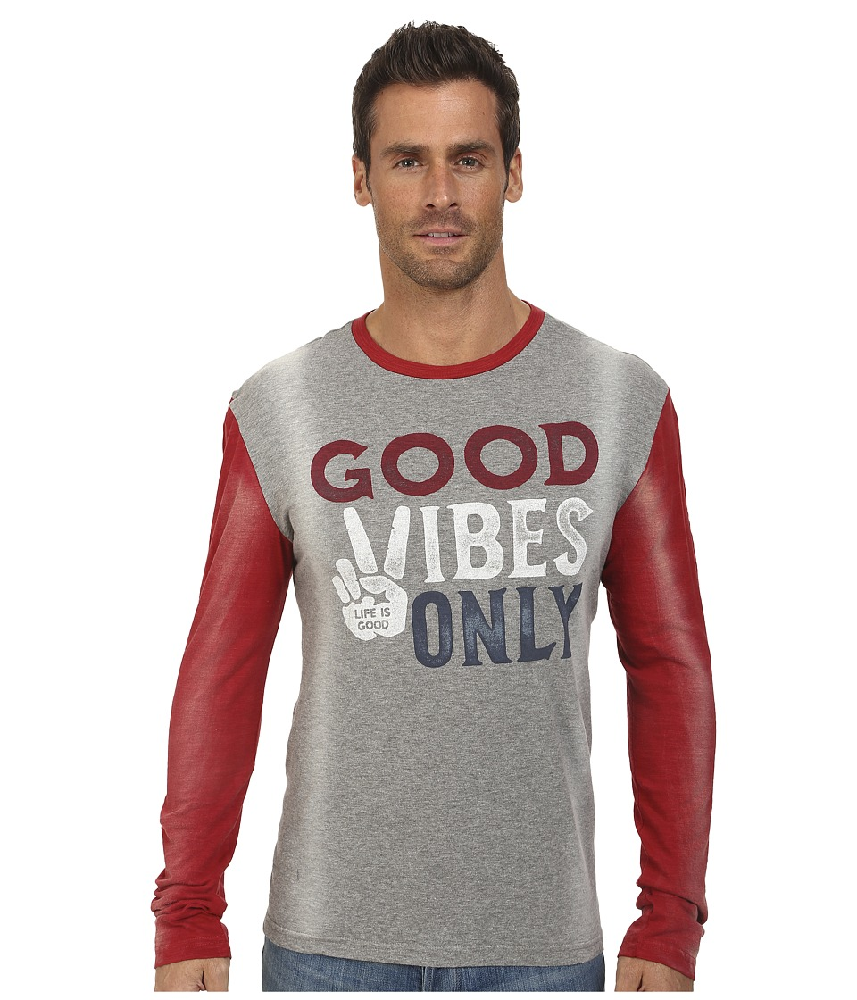 Life is good - Warm-Up Jersey Tee (Heather Grey/Nantucket Red) Men's Long Sleeve Pullover