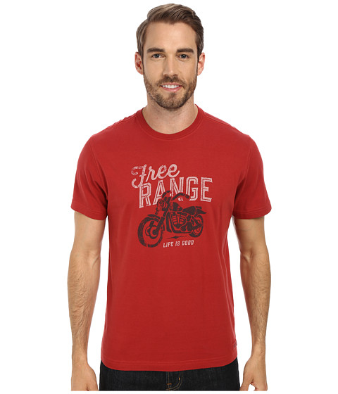 Life is good - Free Range Biker Crusher Tee (Nantucket Red) Men's T Shirt