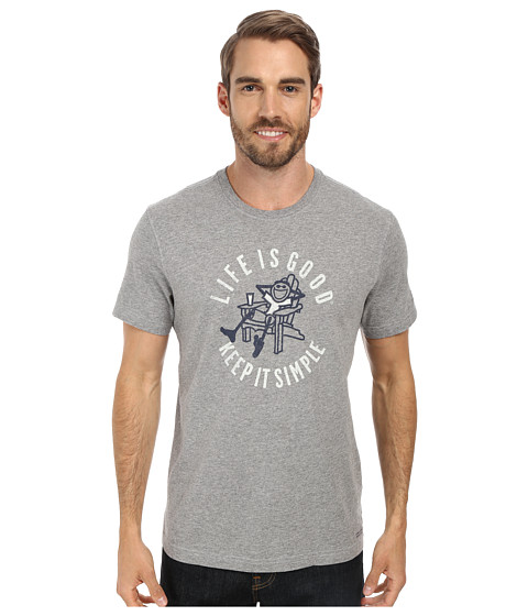 Life is good - Simple Adirondack Crusher Tee (Heather Grey) Men's T Shirt