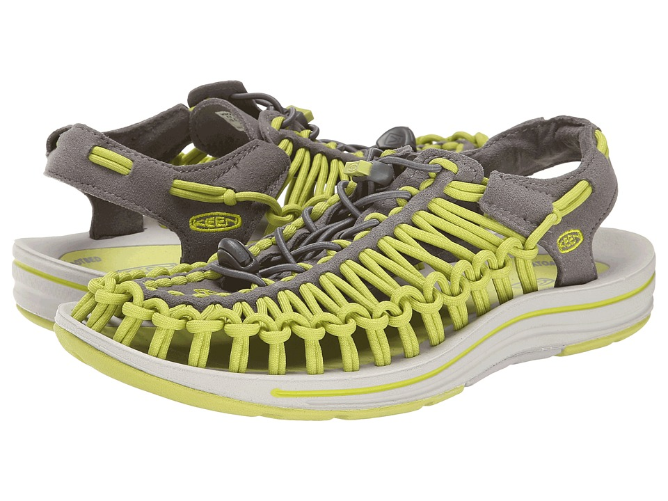 Keen - Uneek (Gargoyle/Bright Chartreuse) Women's Toe Open Shoes