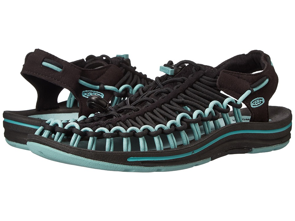 Keen - Uneek (Black/Mineral Blue) Women's Toe Open Shoes