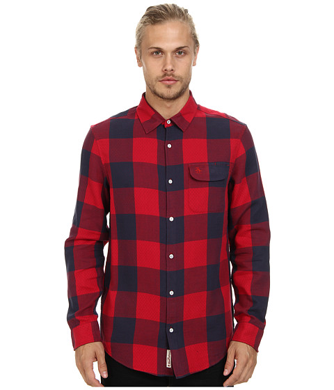 Original Penguin - Buffalo Check Quilted L/S Woven (Jester Red) Men's Long Sleeve Button Up