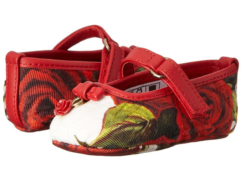 Dolce & Gabbana - Rose Print Mary Jane (Infant/Toddler) (White Multi) Women's Maryjane Shoes