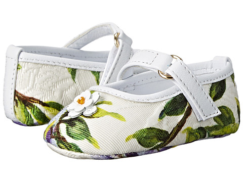 Dolce & Gabbana - Floral Mary Jane (Infant/Toddler) (White Multi) Women's Maryjane Shoes