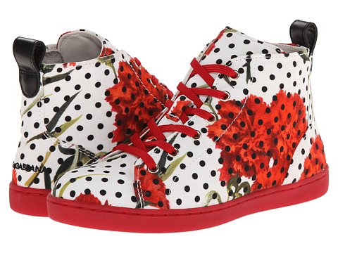 Dolce & Gabbana - Polka Dot/Rose High Top (Little Kid/Big Kid) (Black/White) Women's Shoes