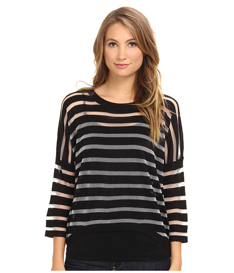 Brigitte Bailey - Striped Sweater (Black) Women's Sweater