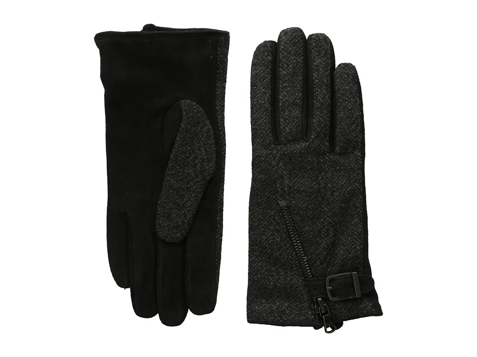 John Varvatos Star U.S.A. - Textile Zip (Black) Extreme Cold Weather Gloves