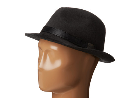 John Varvatos Star U.S.A. - Long Hair Wool Felt (Shadow) Fedora Hats