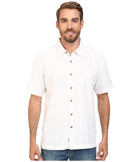 Quiksilver Waterman - Tahiti Palms 4 Traditional Polynosic Woven Top (White) Men's Clothing