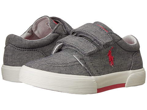 Polo Ralph Lauren Kids - Faxon II EZ (Toddler) (Dark Grey Chambray-Pink) Boys Shoes