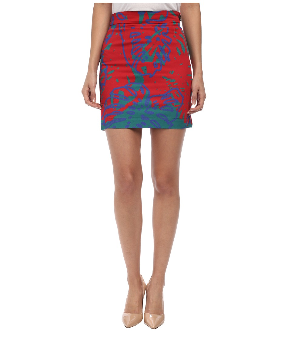 Vivienne Westwood Anglomania - Mini Basic Pencil Skirt (Jade/Cobalt Cheeseplant) Women's Skirt