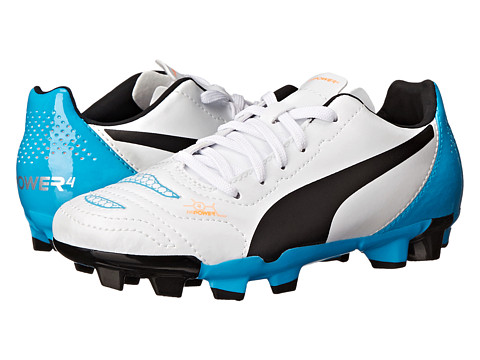 Puma Kids - evoPOWER 4.2 FG Jr (Little Kid/Big Kid) (White/Black/Hawaiian Ocean) Kids Shoes