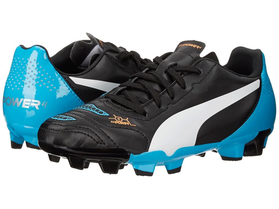 Puma Kids - evoPOWER 4.2 FG Jr (Little Kid/Big Kid) (Black/White/Hawaiian Ocean) Kids Shoes