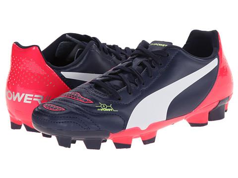 Puma Kids - evoPOWER 4.2 FG Jr (Little Kid/Big Kid) (Peacoat/White/Bright Plasma) Kids Shoes