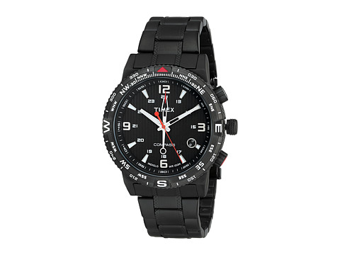 Timex - Intelligent Quartz Adventure Series Compass Stainless Steel Bracelet Watch (Black/Red Accents) Analog Watches
