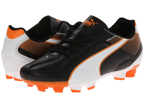 Puma Kids - Esquadra FG JR (Little Kid/Big Kid) (Black/White/Vibrant Orange) Kids Shoes