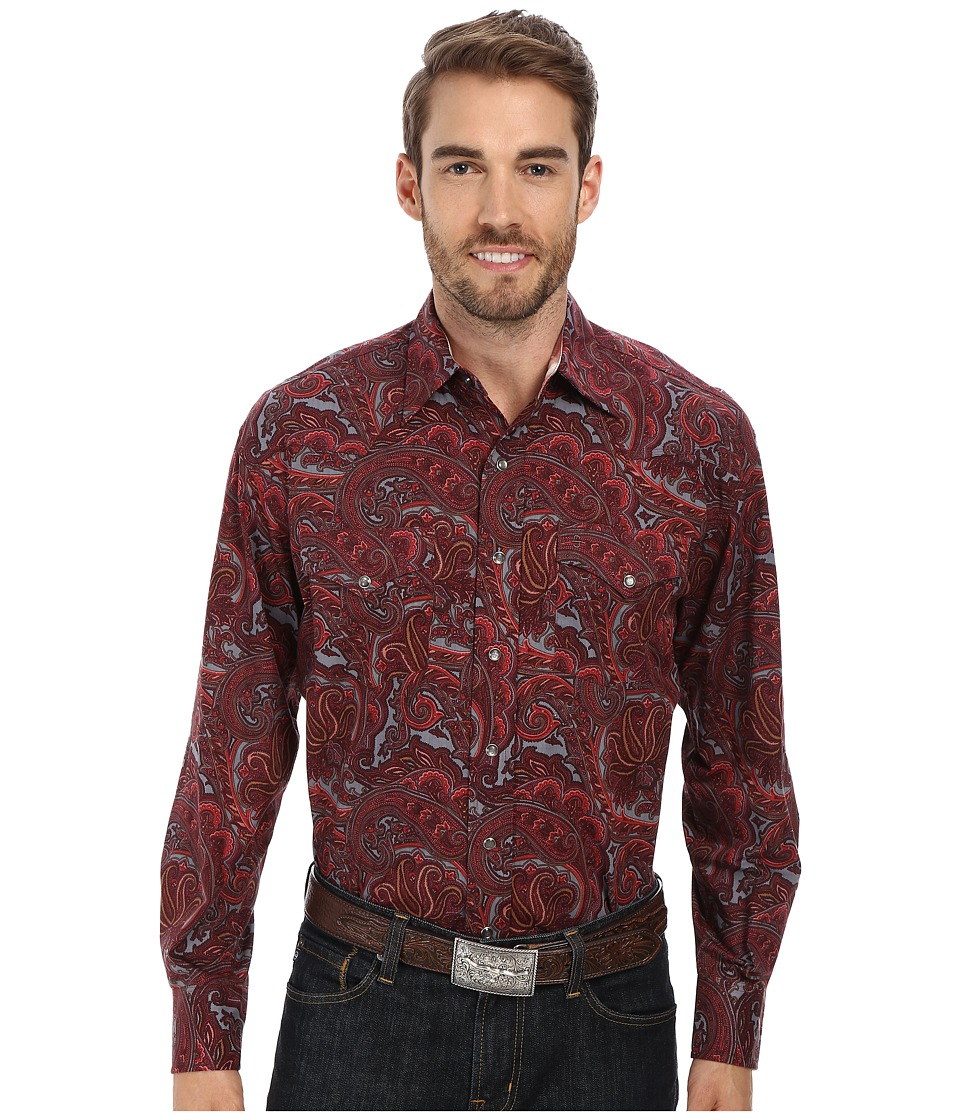 Stetson - Atlantis Paisley Print On Poplin (Red 1) Men's Long Sleeve Button Up