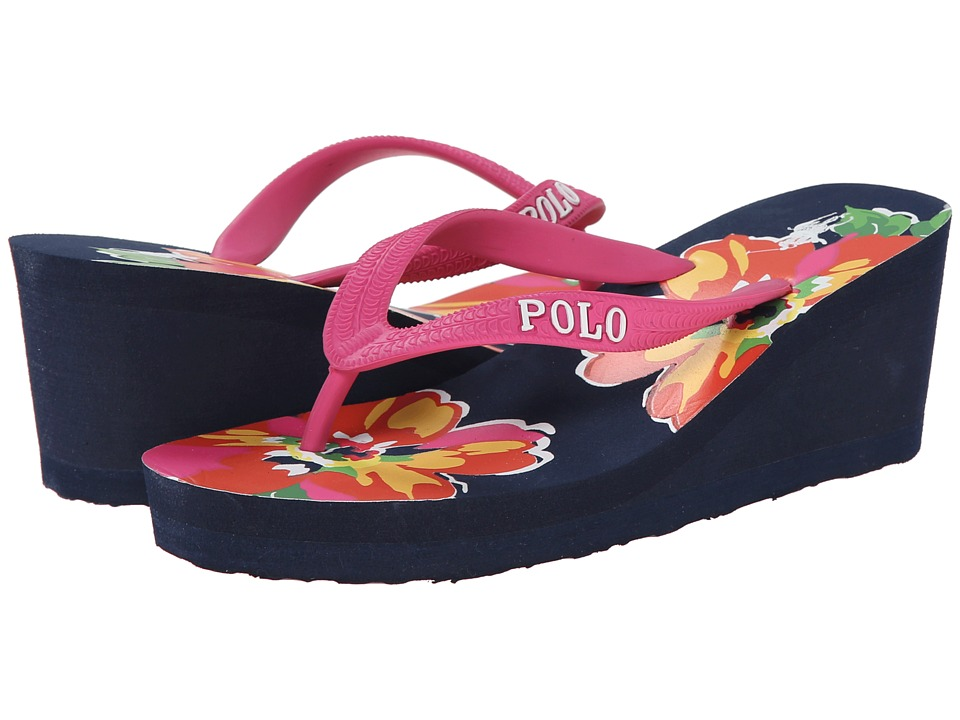 Polo Ralph Lauren Kids - Floral Wedge (Little Kid/Big Kid) (Pink w/ Navy Floral Eva Footbed) Girls Shoes