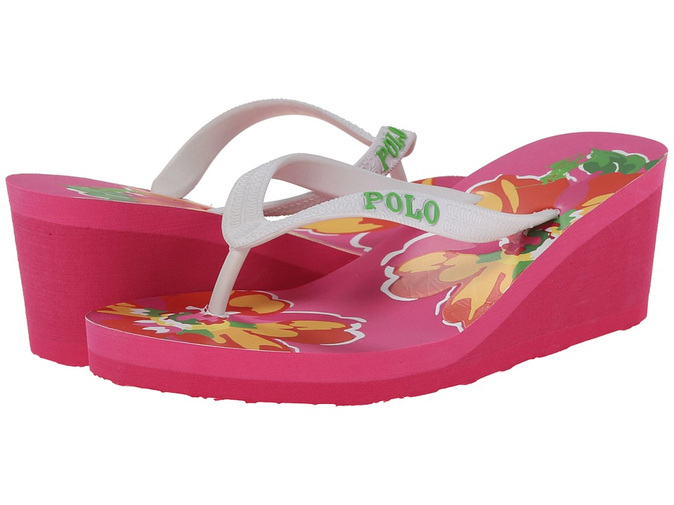 Polo Ralph Lauren Kids - Floral Wedge (Little Kid/Big Kid) (White w/ Pink Floral Eva Footbed) Girls Shoes