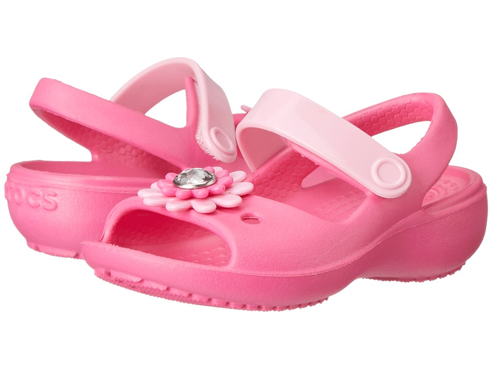 Crocs Kids - Keeley Wedge (Toddler/Little Kid) (Neon Magenta/Carnation) Girl