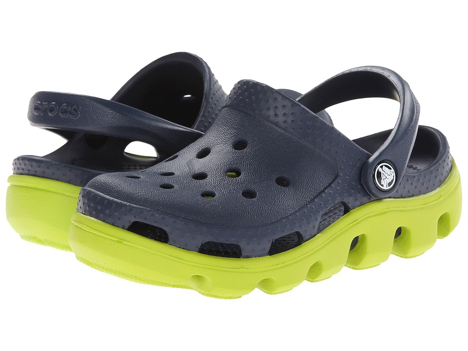 Crocs Kids - Duet Sport Clog (Toddler/Little Kid) (Navy/Volt Green) Kids Shoes