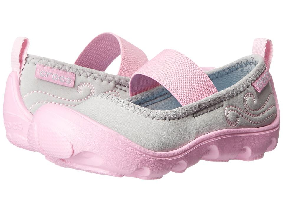 Crocs Kids - Busy Day MJ Flat Girls (Toddler/Little Kid) (Light Grey/Carnation) Girl