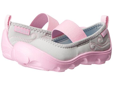 Crocs Kids - Busy Day MJ Flat Girls (Toddler/Little Kid) (Light Grey/Carnation) Girl's Shoes