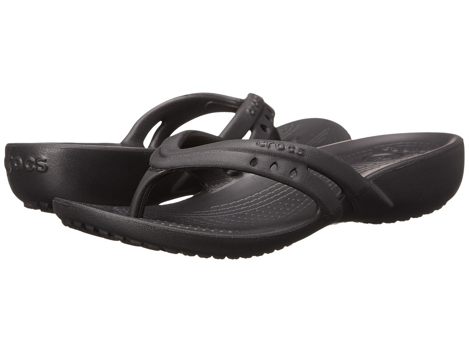 Crocs Kids - Kadee Flip Wedge (Little Kid/Big Kid) (Black) Girls Shoes