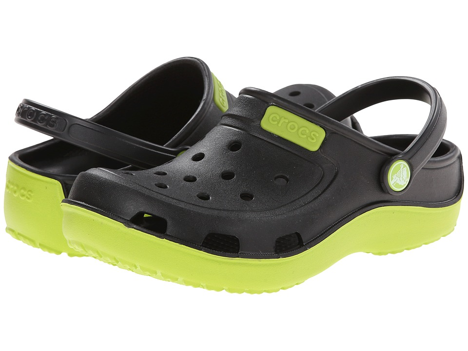 Crocs Kids - Duet Wave Clog (Toddler/Little Kid) (Black/Volt Green) Kids Shoes