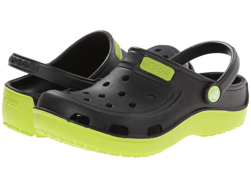 Crocs Kids - Duet Wave Clog (Toddler/Little Kid) (Black/Volt Green) Kids Shoes