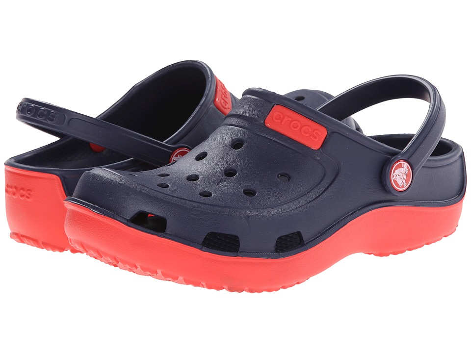 Crocs Kids - Duet Wave Clog (Toddler/Little Kid) (Nautical Navy/Red) Kids Shoes