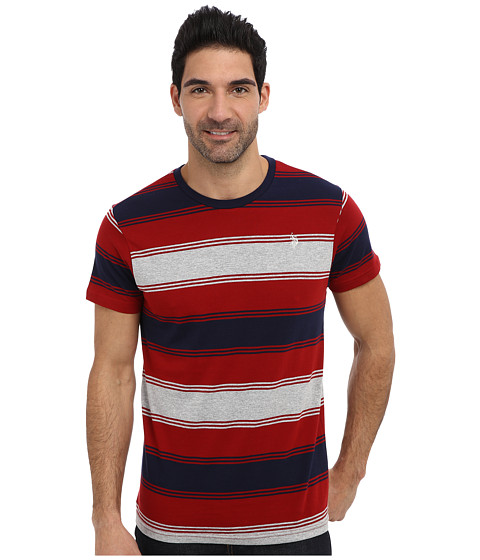 U.S. POLO ASSN. - Tri-Color Stripe Crew Neck Short Sleeve T-Shirt (Apple Cinnamon) Men's Long Sleeve Pullover