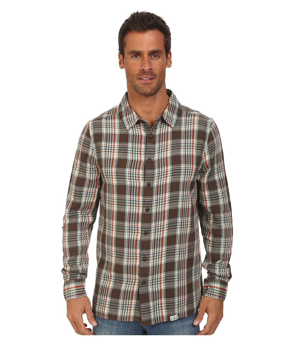 Life is good - Back Road Button-Up (Dark Brown) Men's Long Sleeve Button Up